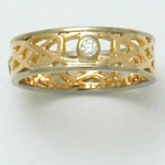 18 carat White and Rose Gold Celtic Band with Diamond