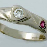 18 carat white gold, diamond and pink sapphire ring
