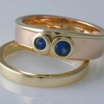 18ct rose and yellow sapphire engagement and wedding rings