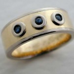 3 Sapphire Yellow and White Gold Ring