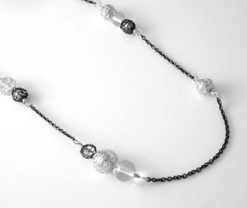 Long Lyric necklace, oxidized silver and quartz crystal