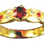 Ruby and diamond 18 carat gold ring